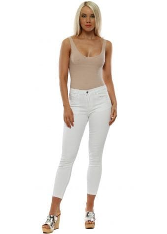 White Crystal Bow Stretch Fit Ankle Grazer Jeans