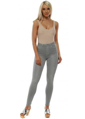 Grey Stretch Fit Skinny High Waisted Jeans