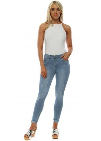 Blue Stretch Fit Distressed Skinny Jeans
