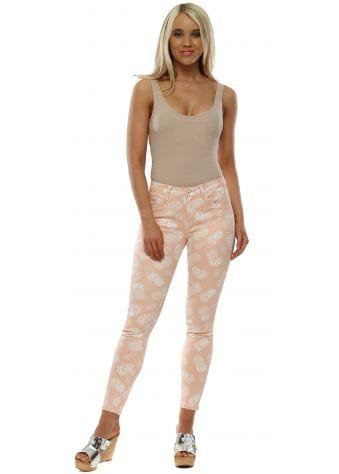 Pink Pineapple Print Stretch Fit Jeans