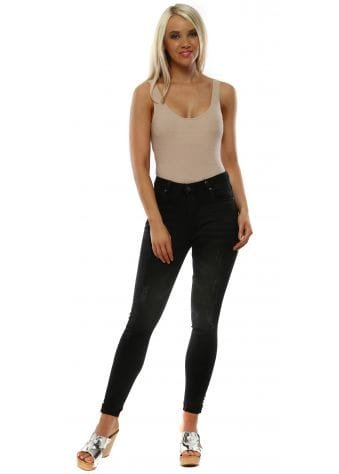 Black Stretch Fit Distressed Skinny Jeans