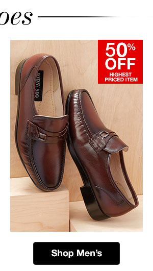 Shop Men's Shoes! 50% OFF Highest Priced Item