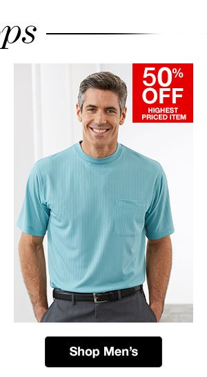 Shop Men's Knits and Tee shirts! 50% OFF Highest Priced Item