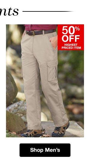 Shop Men's Pants! 50% OFF Highest Priced Item