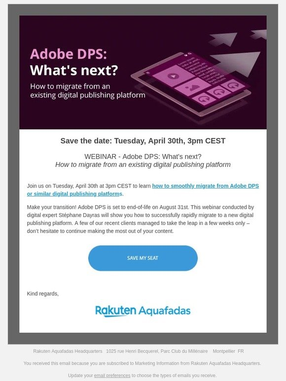 Aquafadas: Webinar - Adobe DPS: What's next? How to migrate