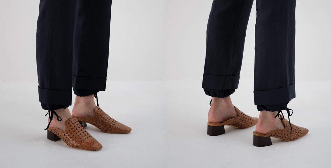 ca6c5fe08085f A woven mule; backless, endearing and shamelessly romantic with an  intricately woven calf leather upper, handcrafted in Spain. Affirmed by a  stacked wooden ...