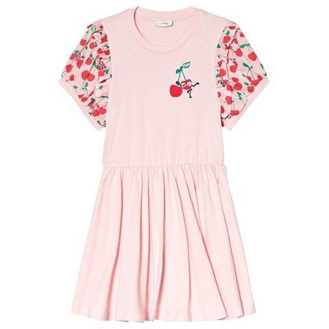 Fendi White and Pink Cherry Monster Print Frill Sleeve Dress