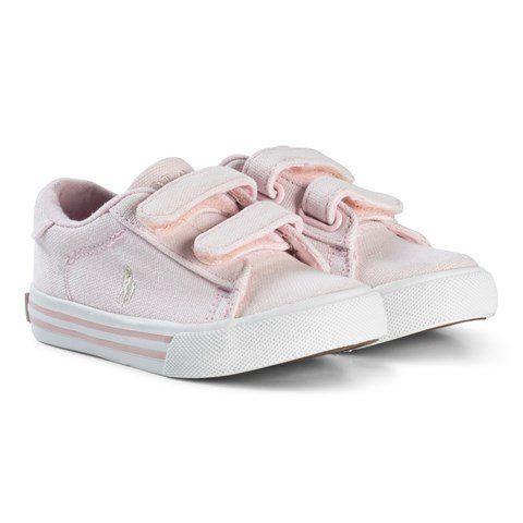 Ralph Lauren Pale Pink Canvas with Red Pony Velcro Trainers
