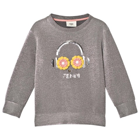Fendi Silver Lurex Metallic Daisy Oversize Sweatshirt