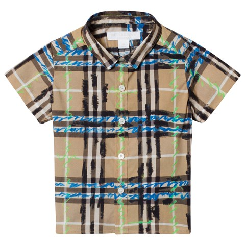 Burberry Blue and Beige Check Mini Clarkey Short Sleeve Shirt