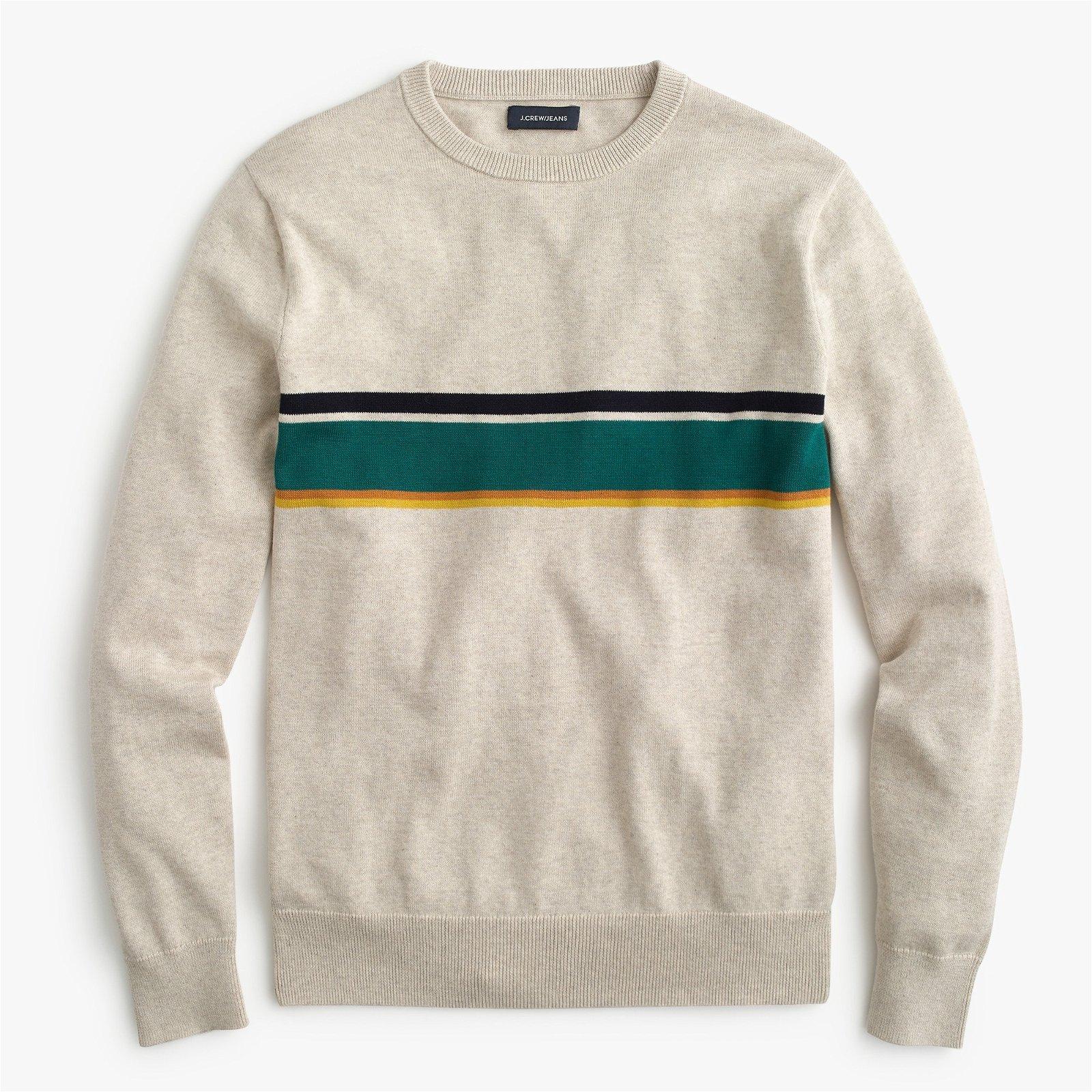 Cotton crewneck sweater in multicolor stripe