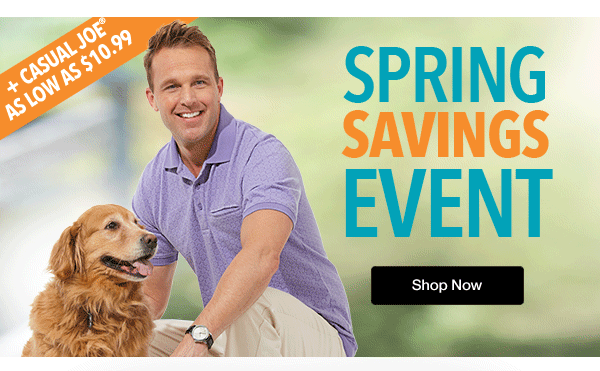 Shop Men's Spring Savings Event!