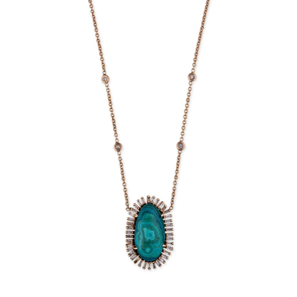Image of FREEFORM CHRYSACOLLA BAGUETTE BORDER NECKLACE