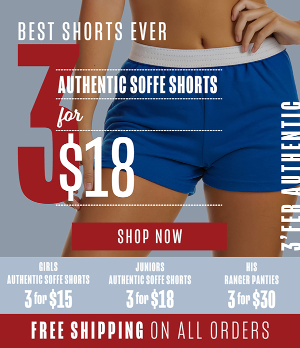 Soffe: 3'fer Shorts - 3 Days Only  Everything Ships Free
