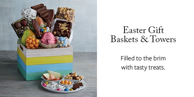 Easter Gift Baskets & Towers - Filled to the brim with tasty treats.