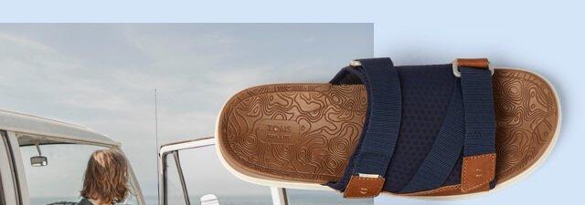 1418774737d Navy Synthetic Nubuck Mesh Mens TRVL LITE Sandals