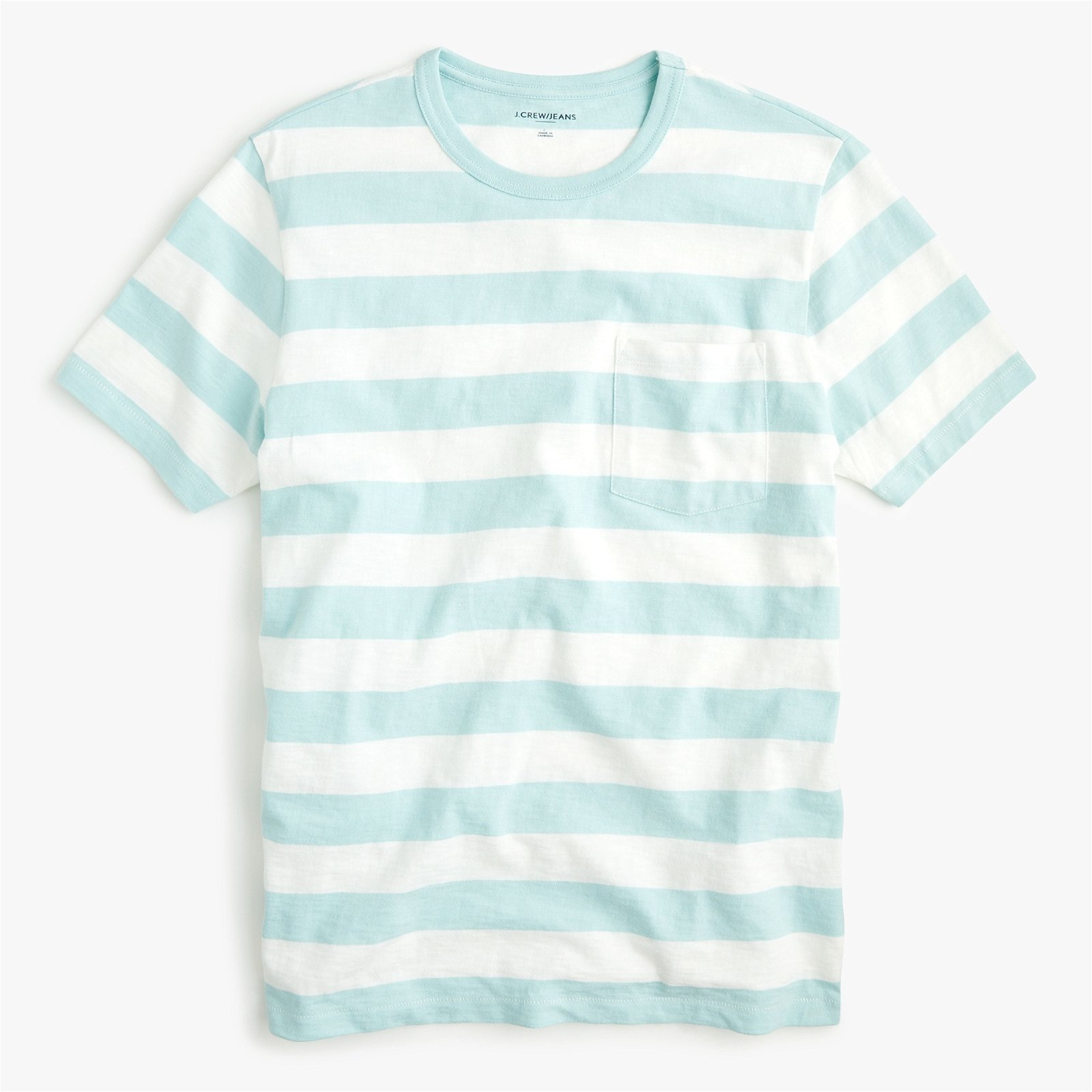 Classic Slub jersey pocket T-shirt in mint stripe