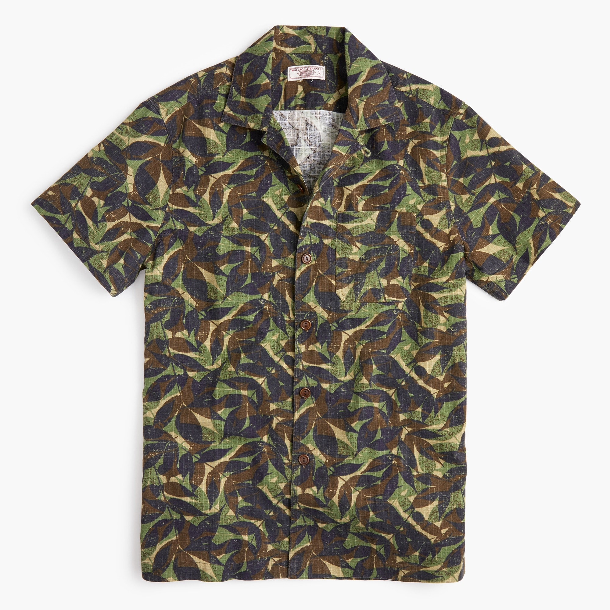 Wallace & Barnes printed camp-collar shirt