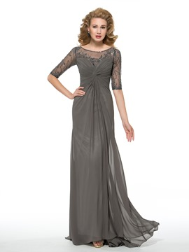 d7368f7faf1a06 Ericdress Sheath Long Bateau Half Sleeves Mother of the Bride Dress