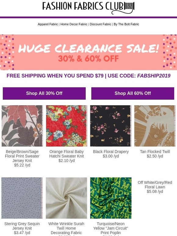 6a23a03abe7 Fashion Fabrics Club: Look Inside - HUGE Clearance Sale + Free Shipping |  Milled