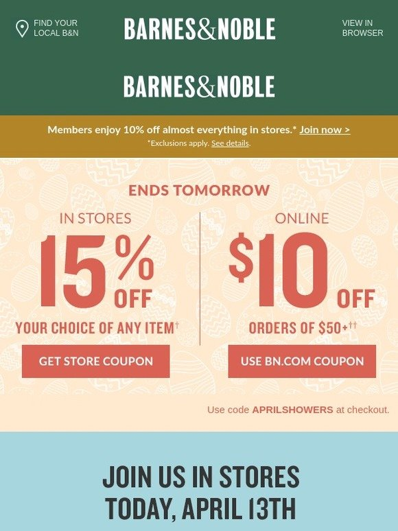 Barnes & Noble: Use Your Coupons - 15% Off in Stores & $10
