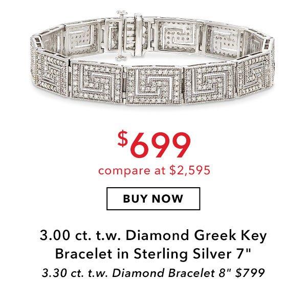 3.00 ct. t.w. Diamond Greek Key Bracelet in Sterling Silver. 7 in. $699. Buy Now