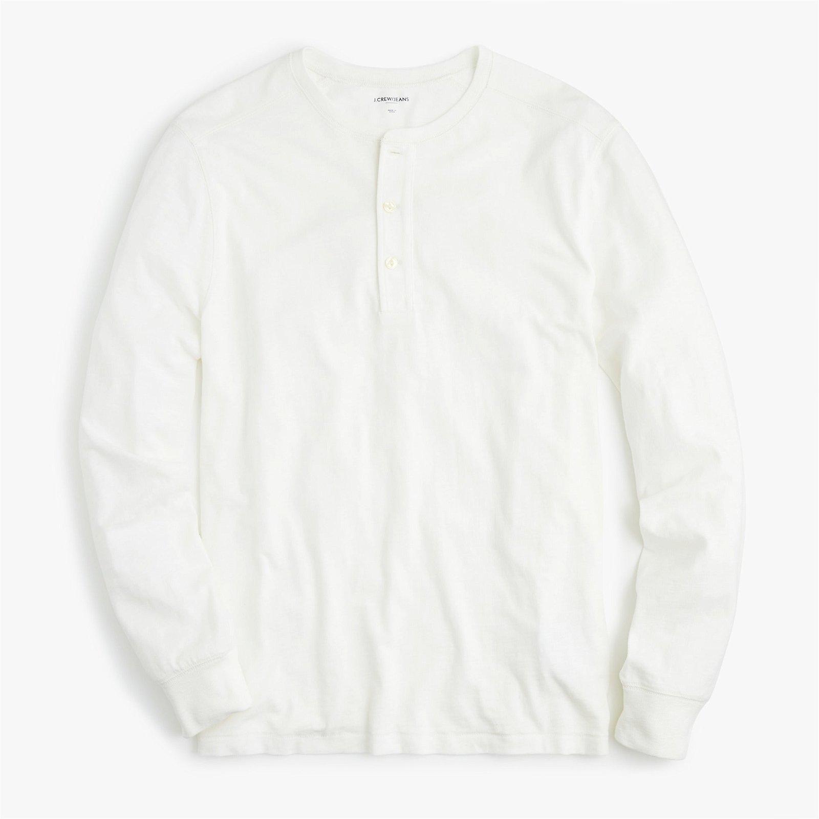 Garment-dyed slub cotton henley
