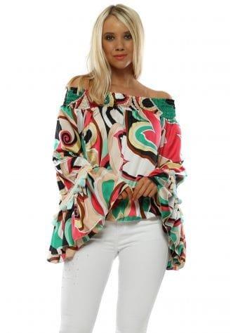 Green & Pink Swirl Bardot Top