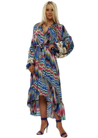 Blue & Pink Zig Zag Long Sleeve High Low Dress