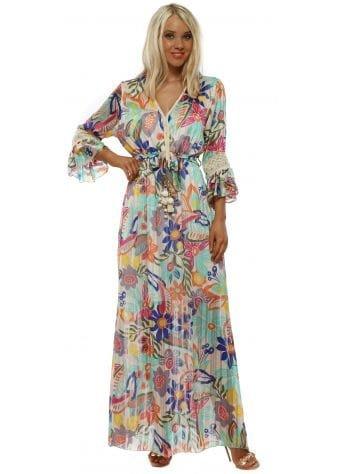 Cream Floral Print Maxi Dress
