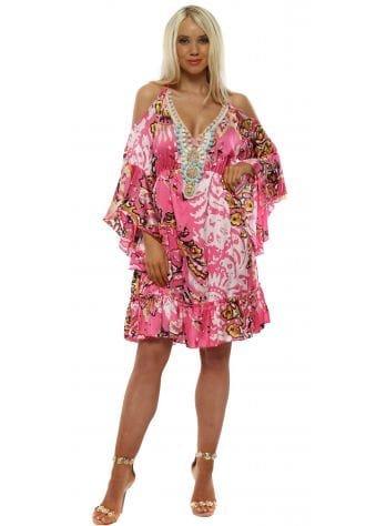 Pink Print Cold Shoulder Beaded Neckline Dress