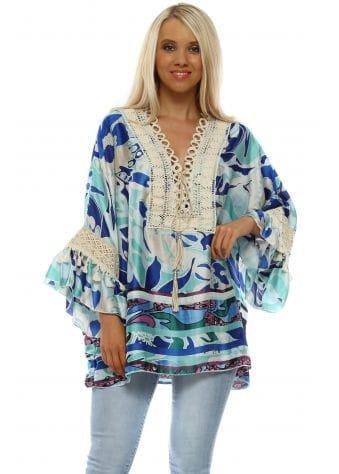 Blue Floral Swirl Crochet Tie Flared Cuff Top