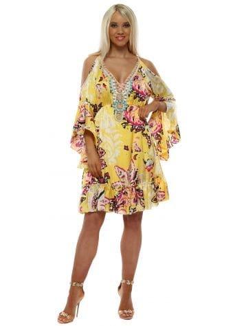 Yellow Print Cold Shoulder Beaded Neckline Dress