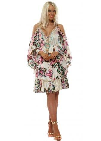 Cream Print Cold Shoulder Beaded Neckline Dress