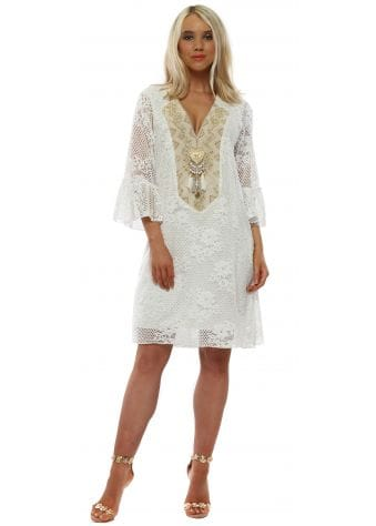 Ivory Lace Beaded Shift Dress