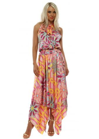 Pink Floral Halter Neck Handkerchief Dress