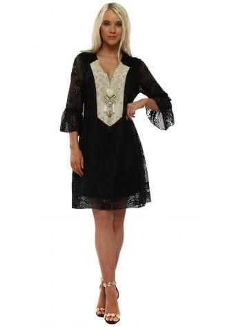 Black Lace Beaded Shift Dress