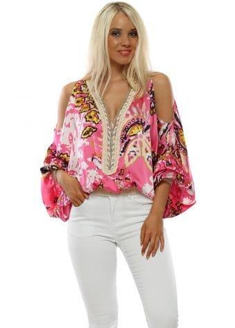 Pink Floral Cold Shoulder Flouncy Sleeve Top