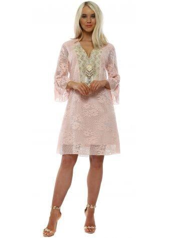 Pink Lace Beaded Shift Dress
