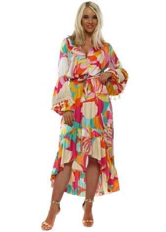 Kaleidoscope Long Sleeve High Low Dress