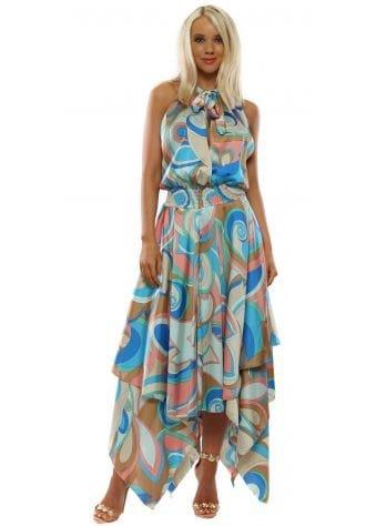 Pink & Blue Swirl Halter Neck Handkerchief Dress