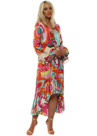 Hot Pink Swirl Long Sleeve High Low Dress