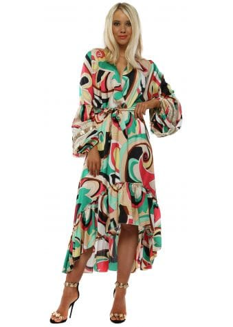 Green & Pink Swirl Long Sleeve High Low Dress