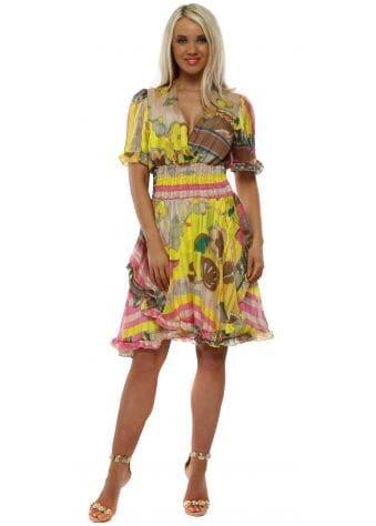 Yellow Chiffon Floral Fit & Flare Dress