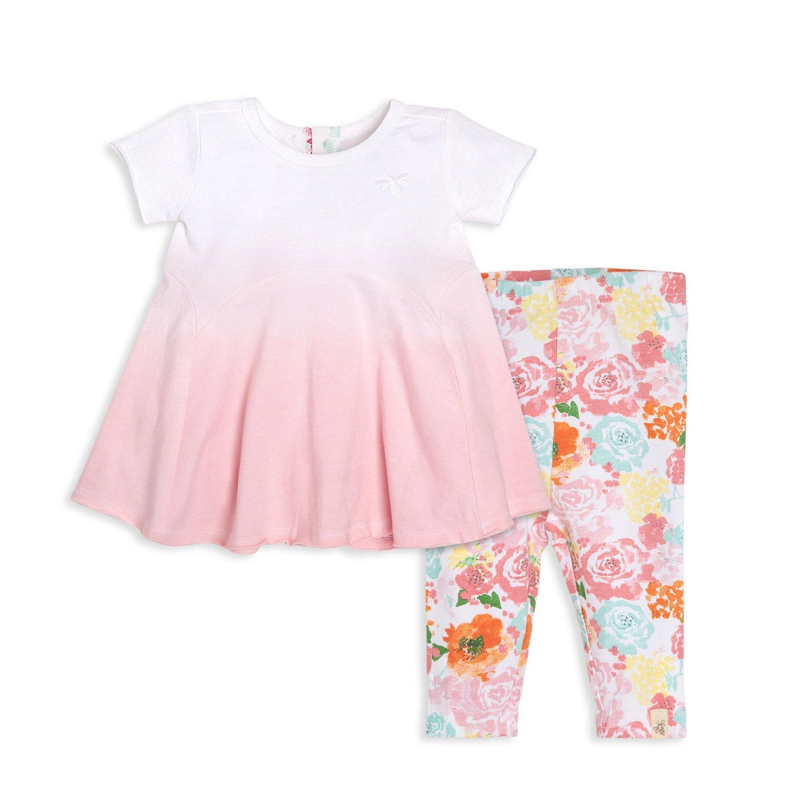 Dip-Dye Organic Baby Tunic & Capri Floral Legging Set