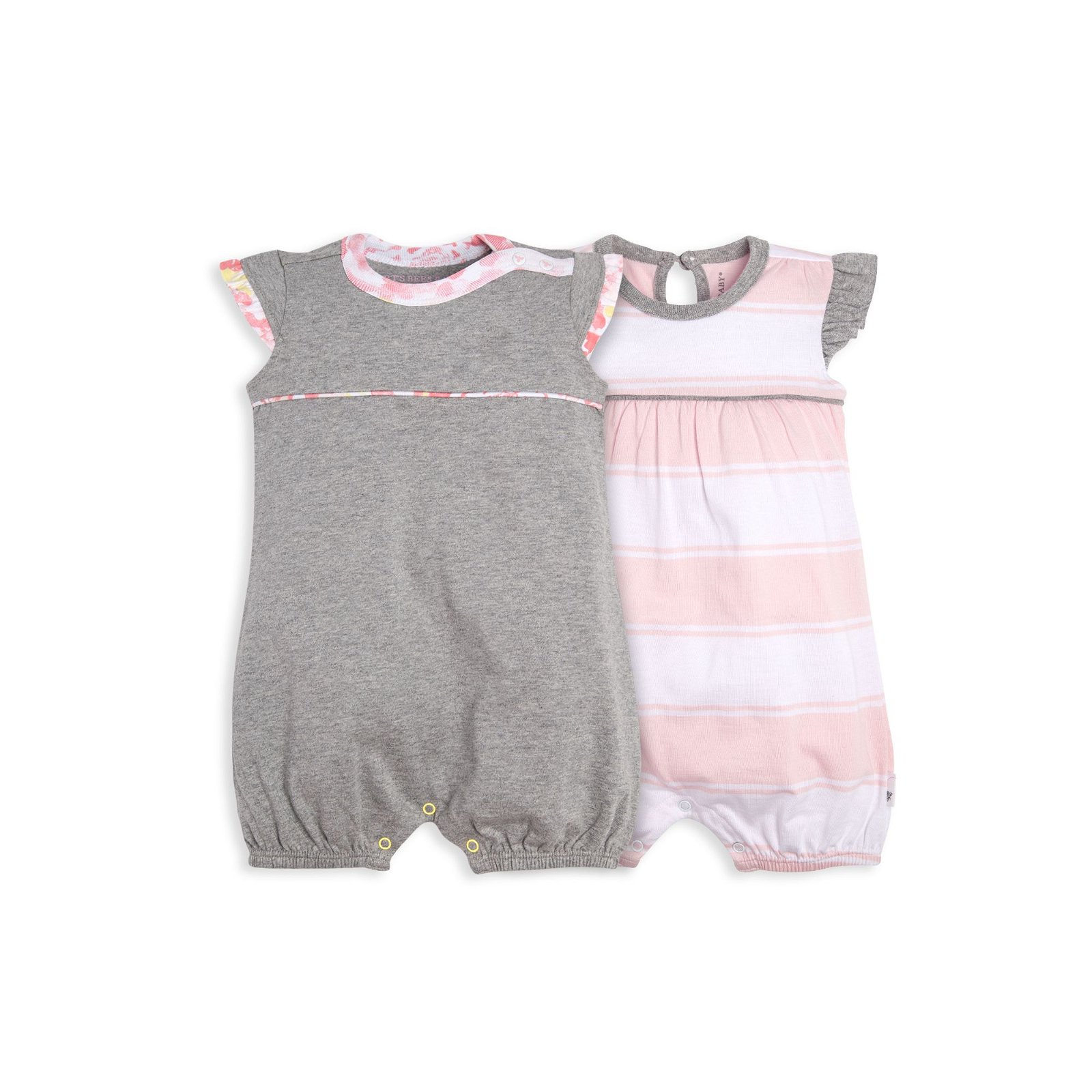Rugby Peace Stripe and Floral Trim Organic Baby Bubble Romper 2 Pack