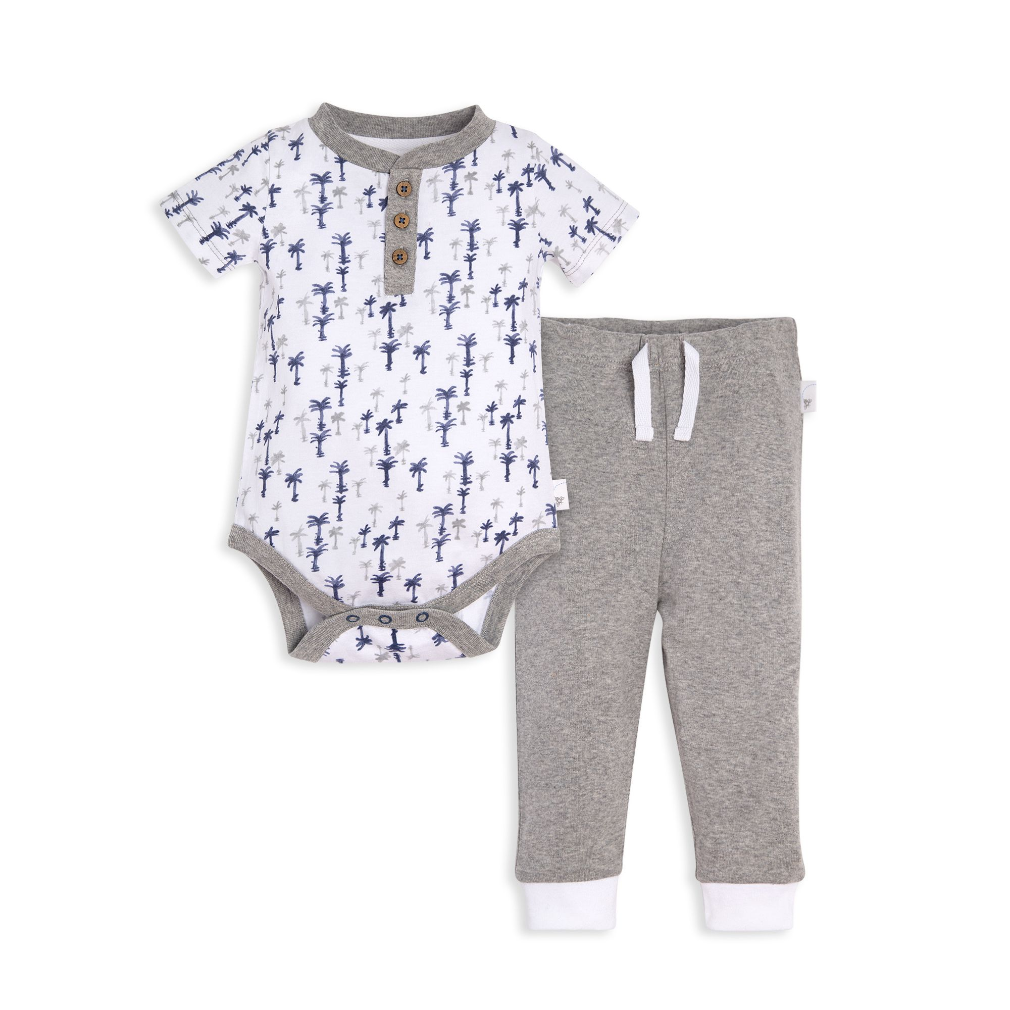 Breezy Palm Trees Organic Baby Bodysuit and Pant Set