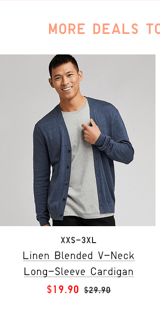 LINEN BLENDED V-NECK LONG-SLEEVE CARDIGAN $19.90