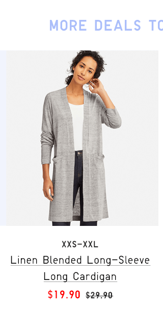 LINEN BLENDED LONG-SLEEVE LONG CARDIGAN $19.90