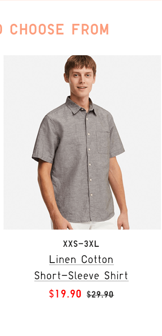 LINEN COTTON SHORT-SLEEVE SHIRT $19.90